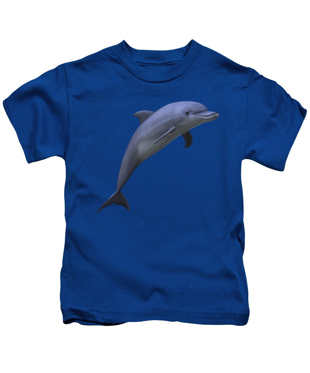 Dolphin Kids T-Shirt featuring the digital art Dolphin In Ocean Blue by Movie Poster Prints