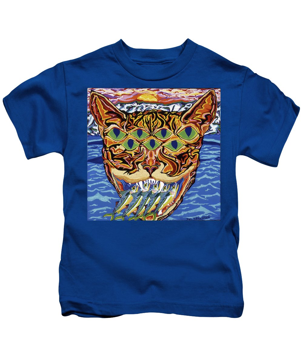 Cat Kids T-Shirt featuring the painting Dover Cat by Robert SORENSEN