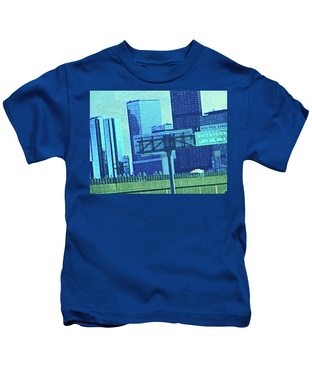 Abstract Kids T-Shirt featuring the photograph Downtown Left 3-4 Mile by Lenore Senior