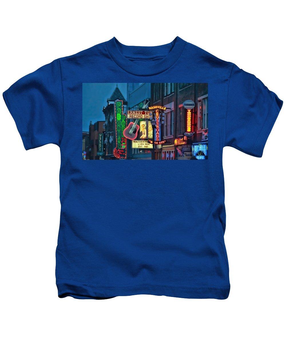 Downtown Nashville At Dusk Kids T-Shirt featuring the photograph Downtown Nashville At Dusk by Dan Sproul