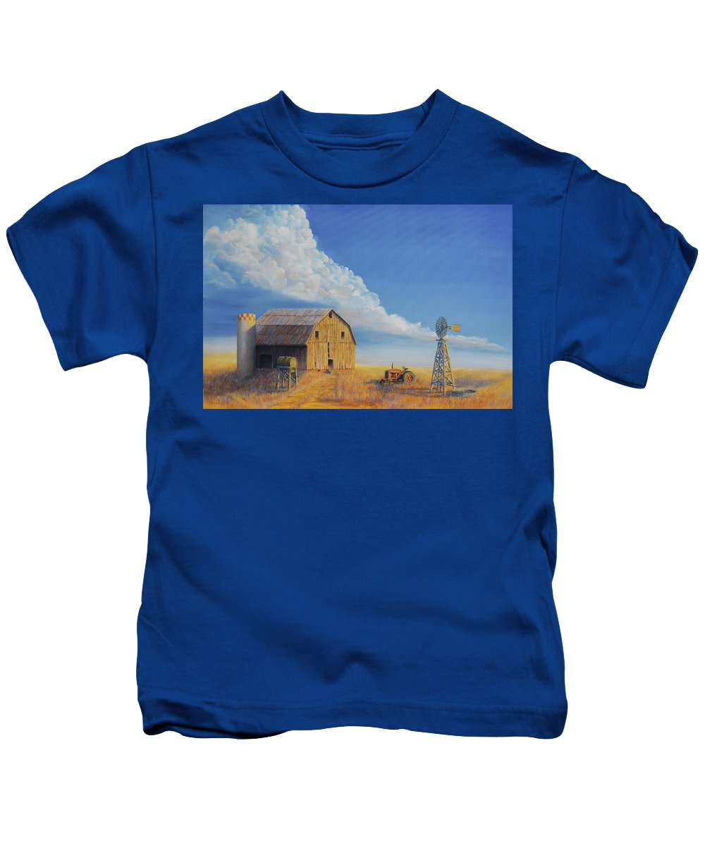 Barn Kids T-Shirt featuring the painting Downtown Wyoming by Jerry McElroy