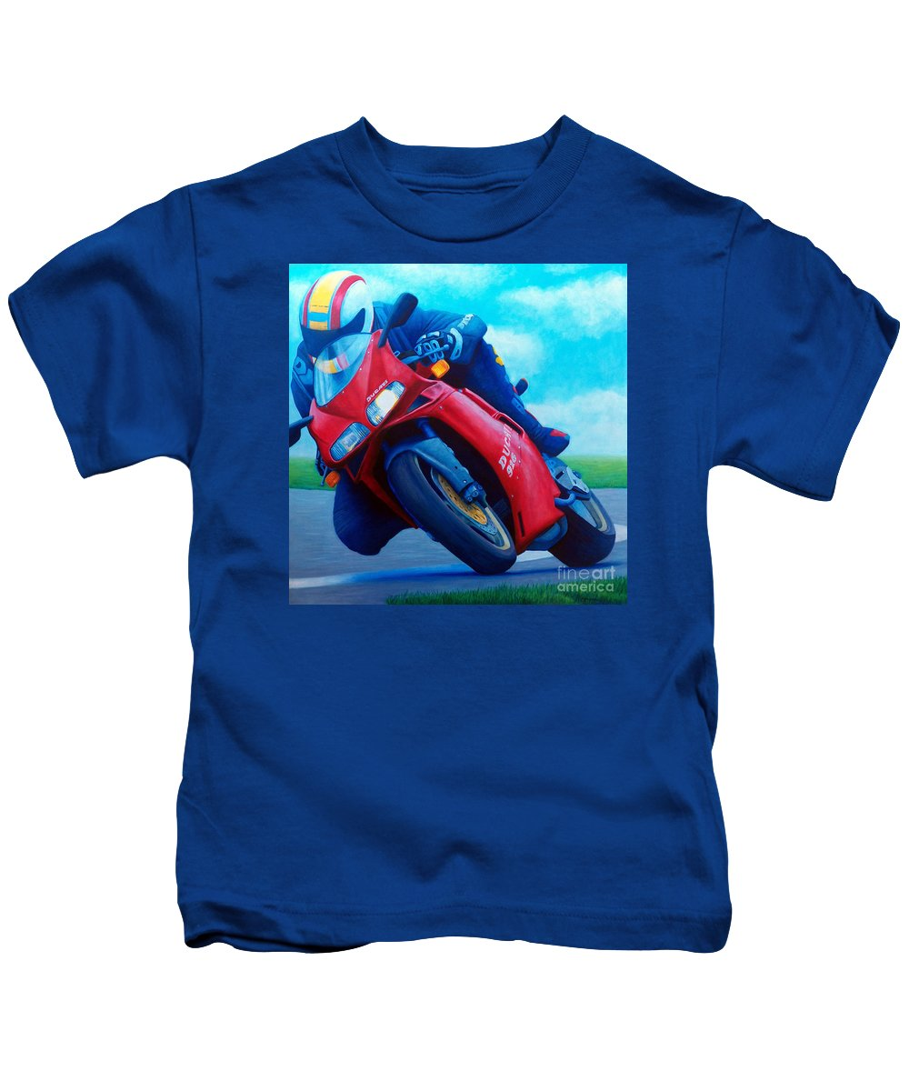 Motorcycle Kids T-Shirt featuring the painting Ducati 916 by Brian Commerford