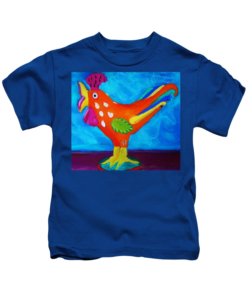 Bird Kids T-Shirt featuring the pastel Dusty's Chick by Melinda Etzold