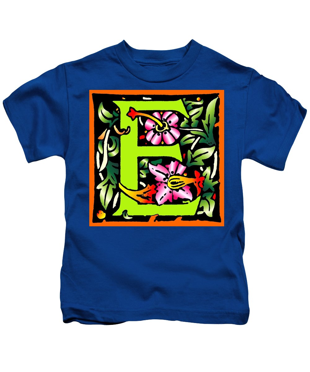Alphabet Kids T-Shirt featuring the digital art E In Green by Kathleen Sepulveda