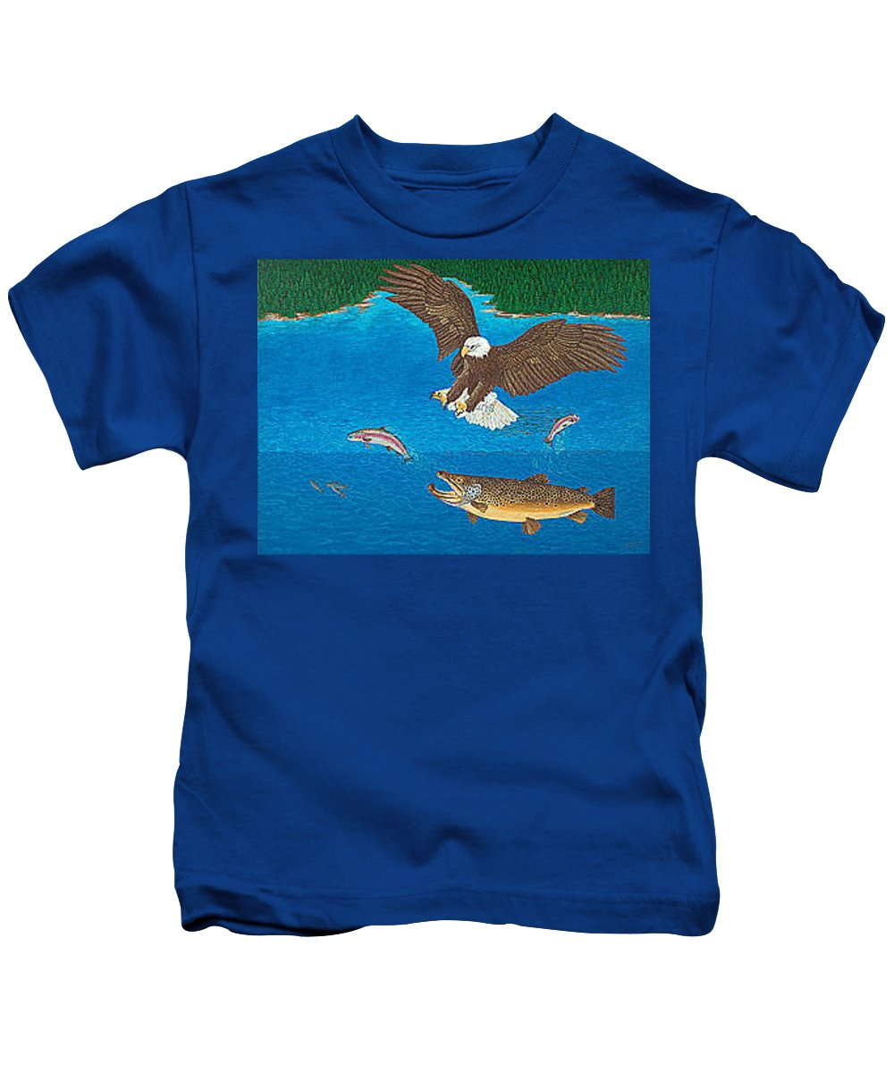 Art Print Prints Giclee Canvas Framed Brown Trout Eagle Lake Mountain Forest Nature Wildlife Wall Kids T-Shirt featuring the painting Eagle Trophy Brown Trout Rainbow Trout Art Print Blue Mountain Lake Artwork Giclee Birds Wildlife by Baslee Troutman