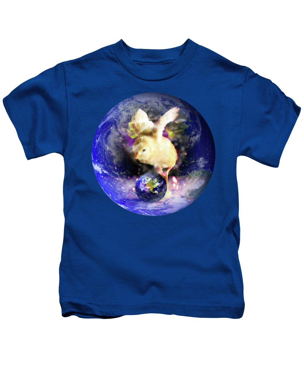 Chick Kids T-Shirt featuring the digital art Earth Chick by Gravityx9 Designs