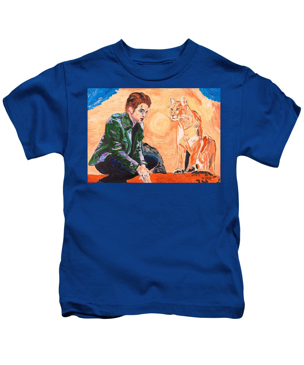Edward Kids T-Shirt featuring the painting Edward Cullen And His Diet by Valerie Ornstein