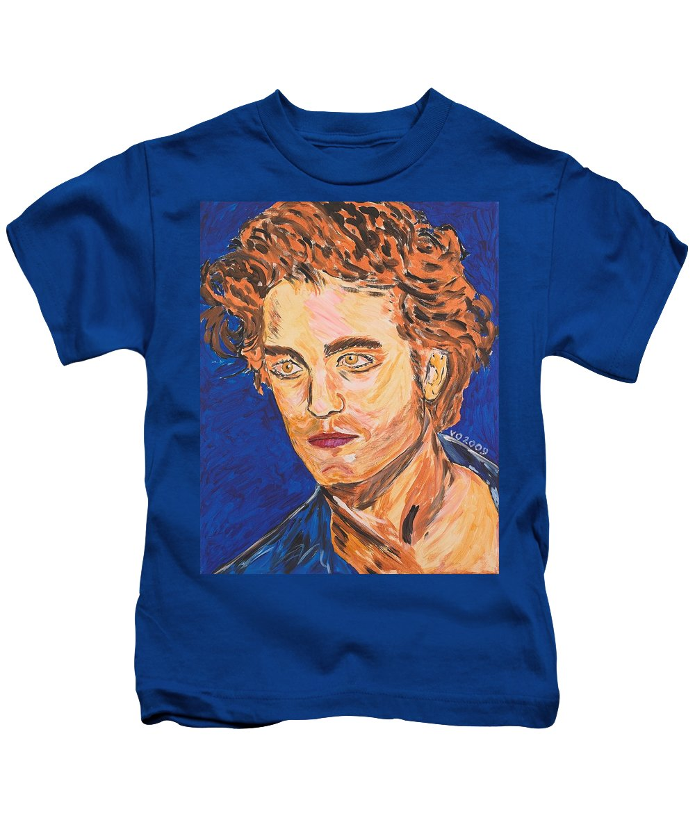 Edward Kids T-Shirt featuring the painting Edward Cullen by Valerie Ornstein