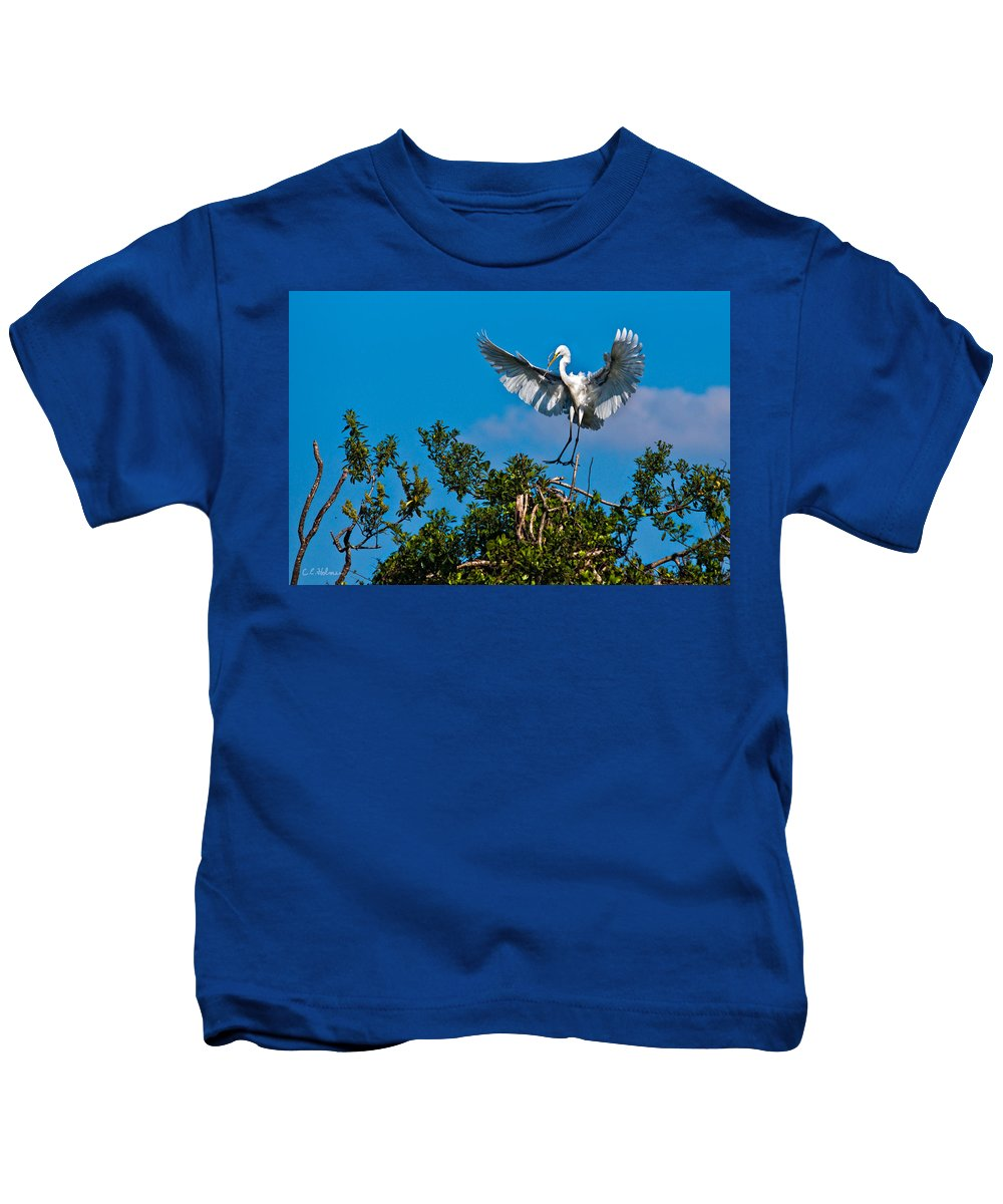 Avian Kids T-Shirt featuring the photograph Egret Landing by Christopher Holmes