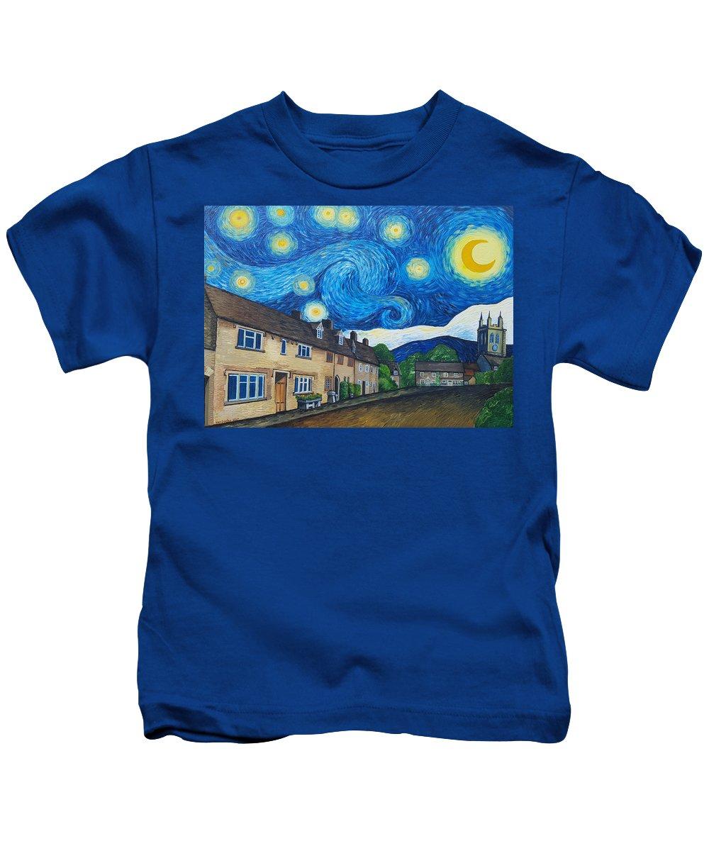 Van Gogh Kids T-Shirt featuring the painting English Village In Van Gogh Style by Malgorzata Pieczonka pseud Vangocha