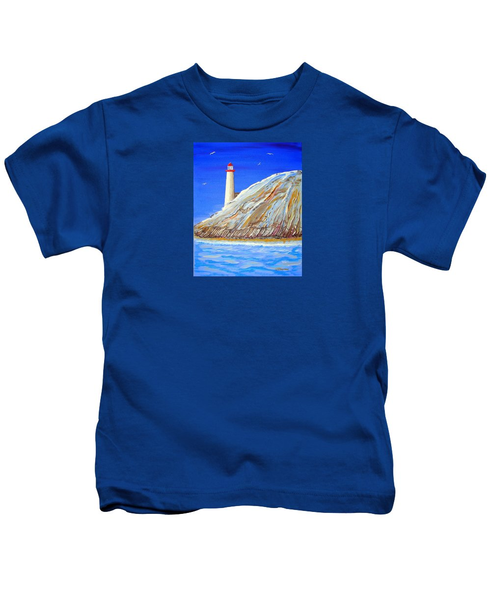 Impressionist Painting Kids T-Shirt featuring the painting Entering The Harbor by J R Seymour