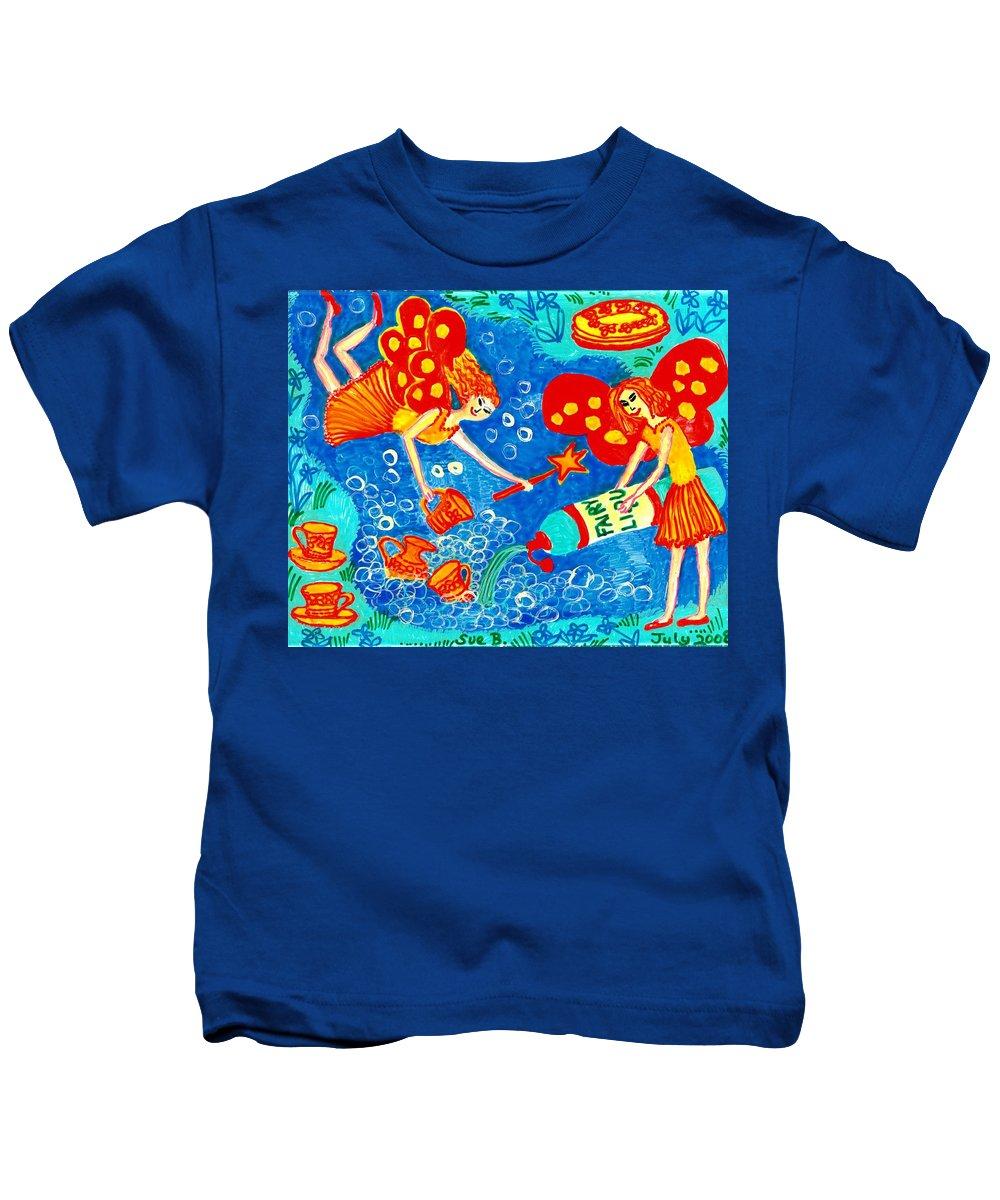 Fairies Kids T-Shirt featuring the painting Fairy Liquid by Sushila Burgess