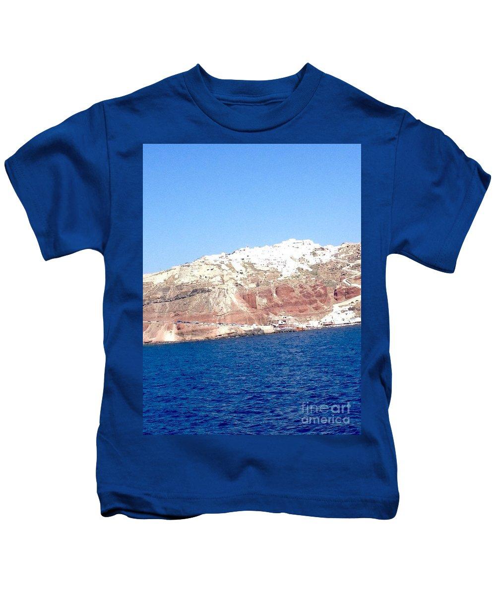 Santorini Island Kids T-Shirt featuring the digital art Fairy To Santorinii by Viktoriya Sirris