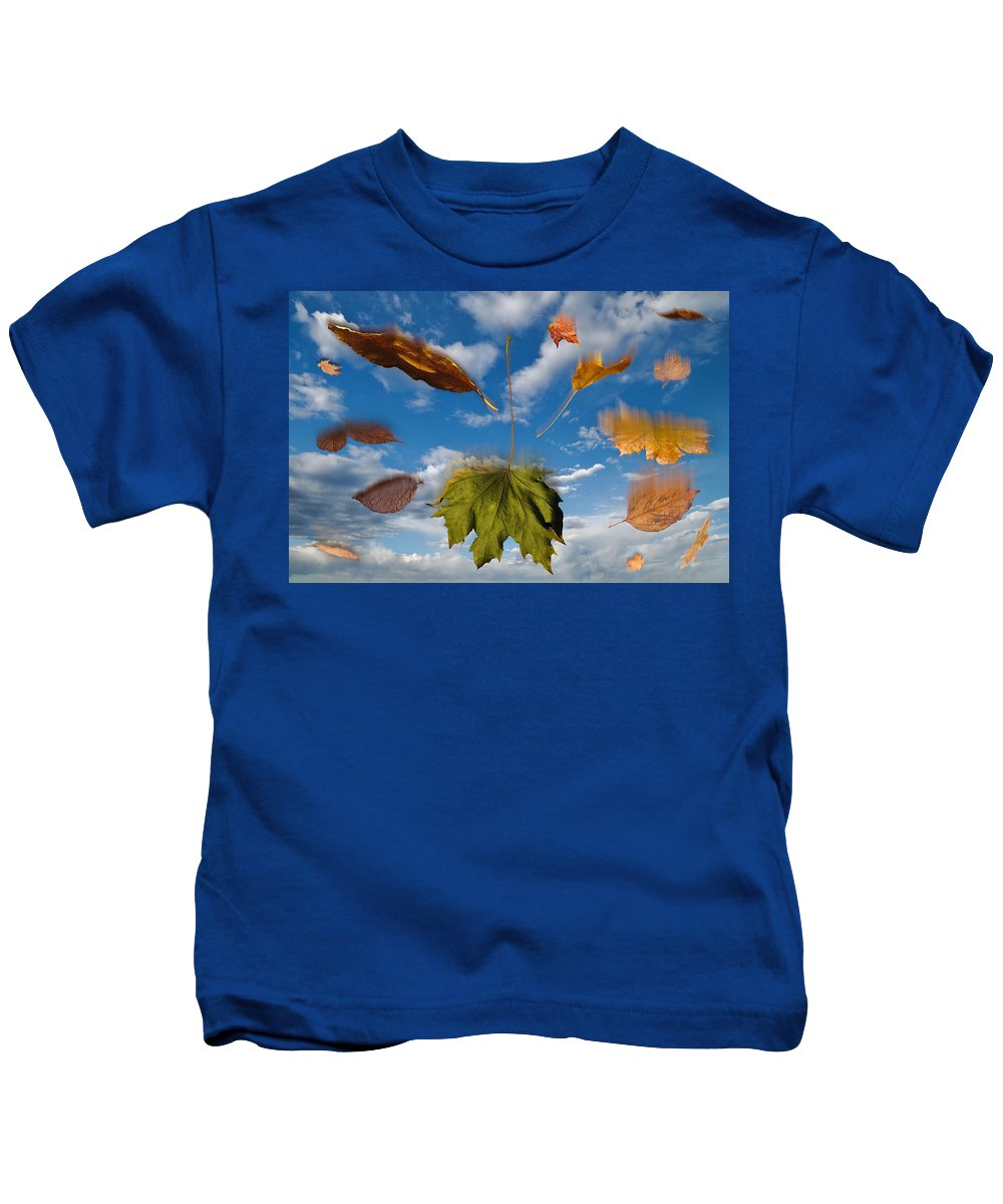 Leaf Kids T-Shirt featuring the digital art Fall by Steve Gadomski