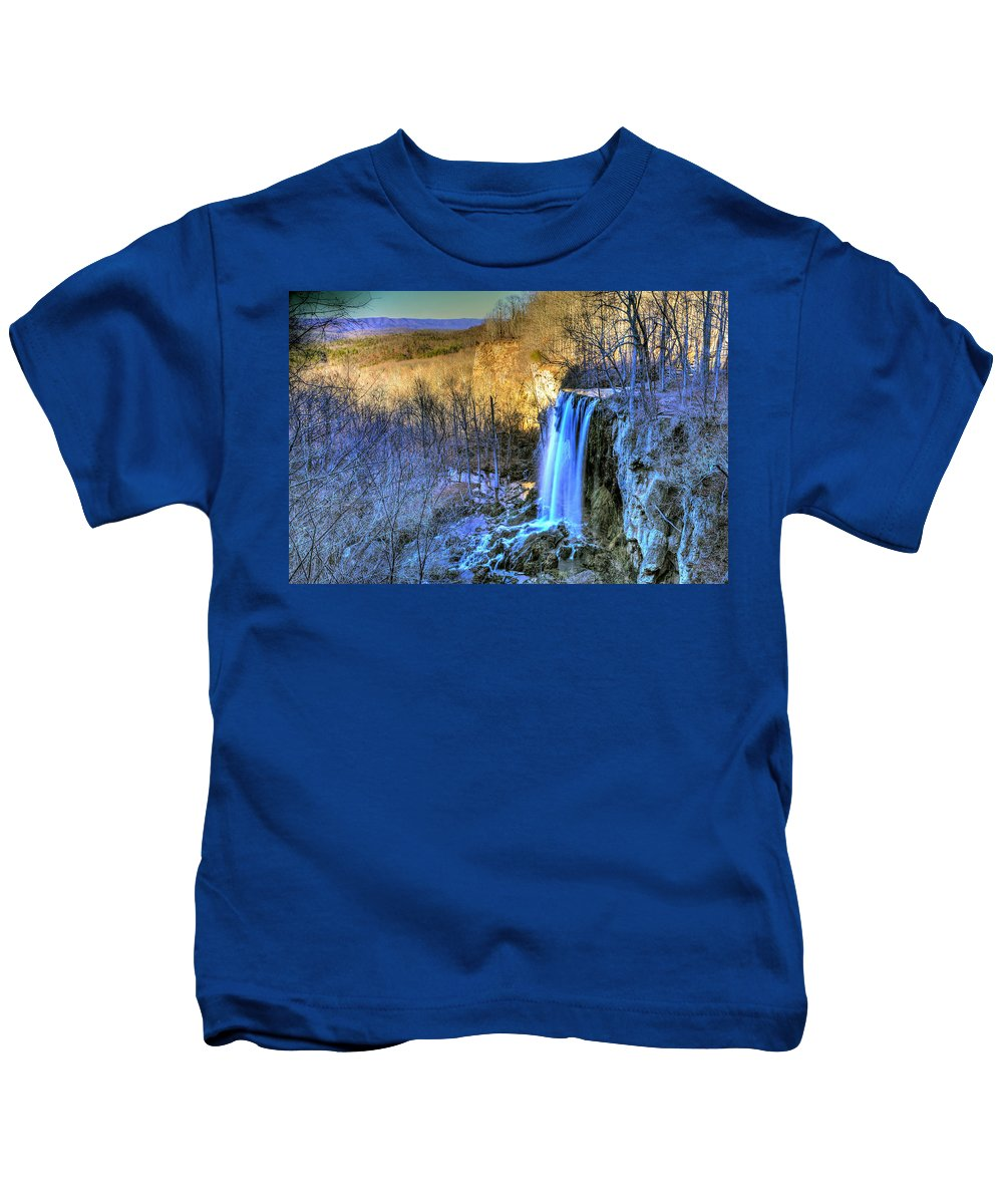 Falling Spring Falls Kids T-Shirt featuring the photograph Falling Spring Falls by Don Mercer