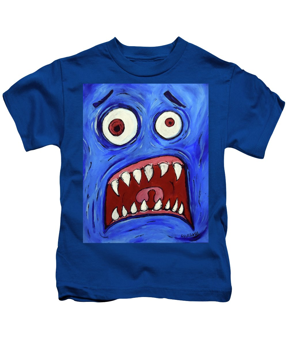 Kids T-Shirt featuring the painting Fear-potentiated Startle by Squid XIII