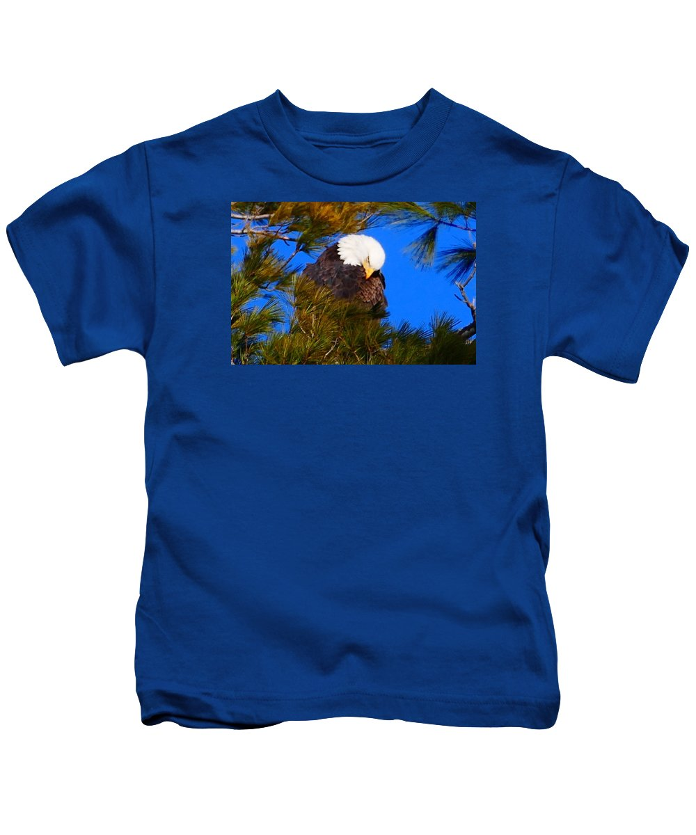 Bald Eagle Kids T-Shirt featuring the photograph Feather Fluff by Debbie Storie