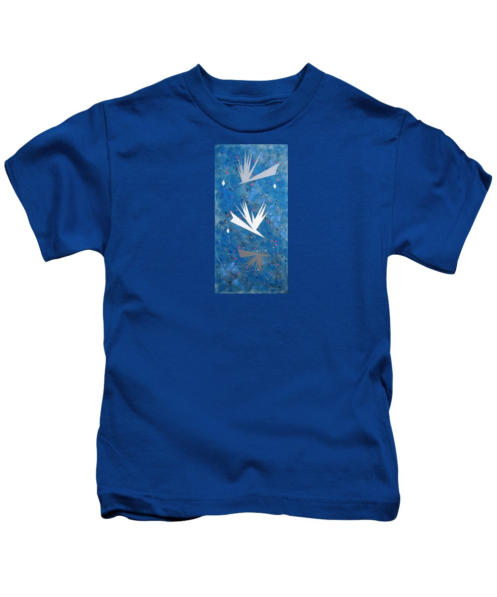 Birds And Diamond Stars Kids T-Shirt featuring the painting Feeding Frenzy by J R Seymour