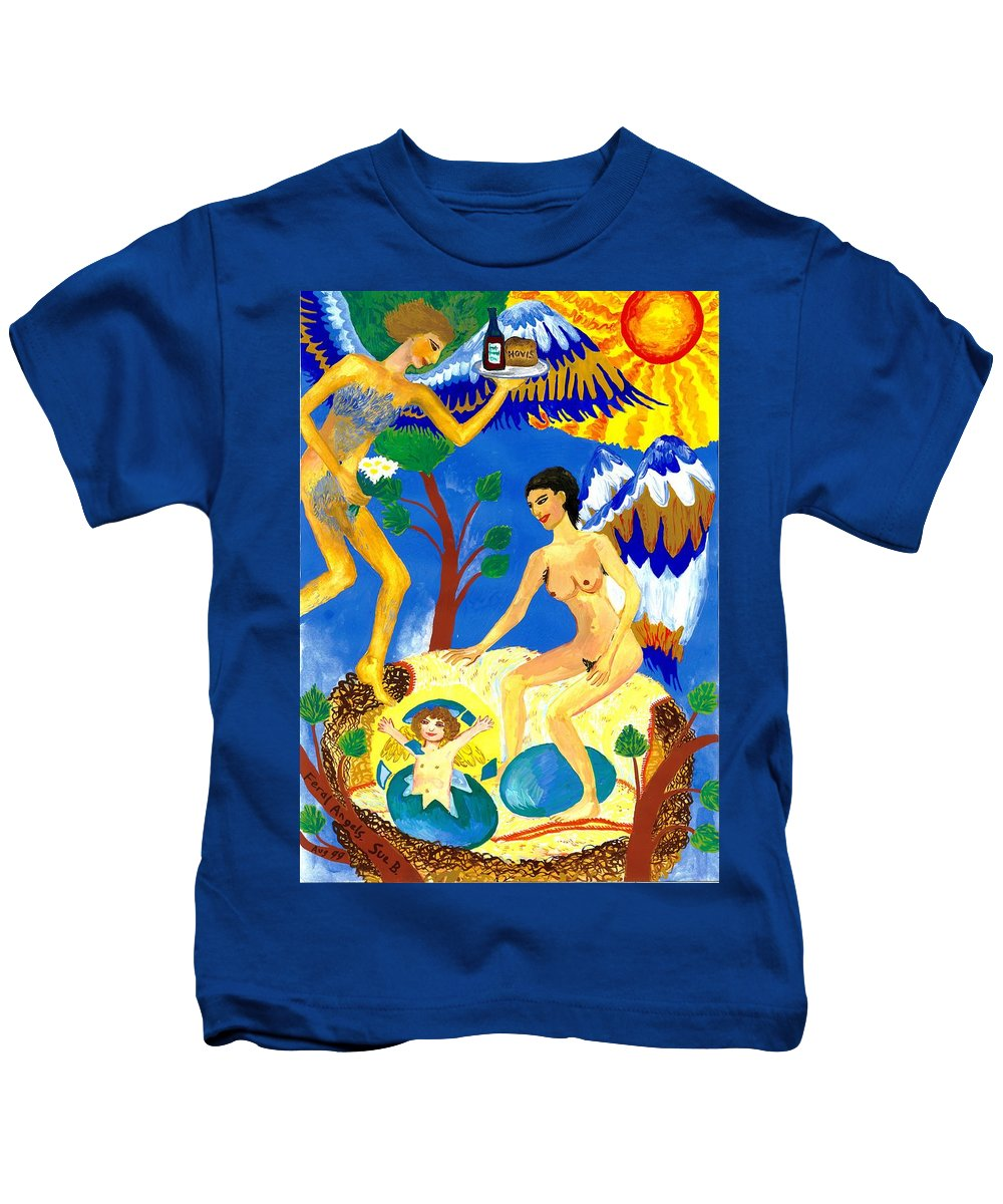 Sue Burgess Kids T-Shirt featuring the painting Feral Angels by Sushila Burgess