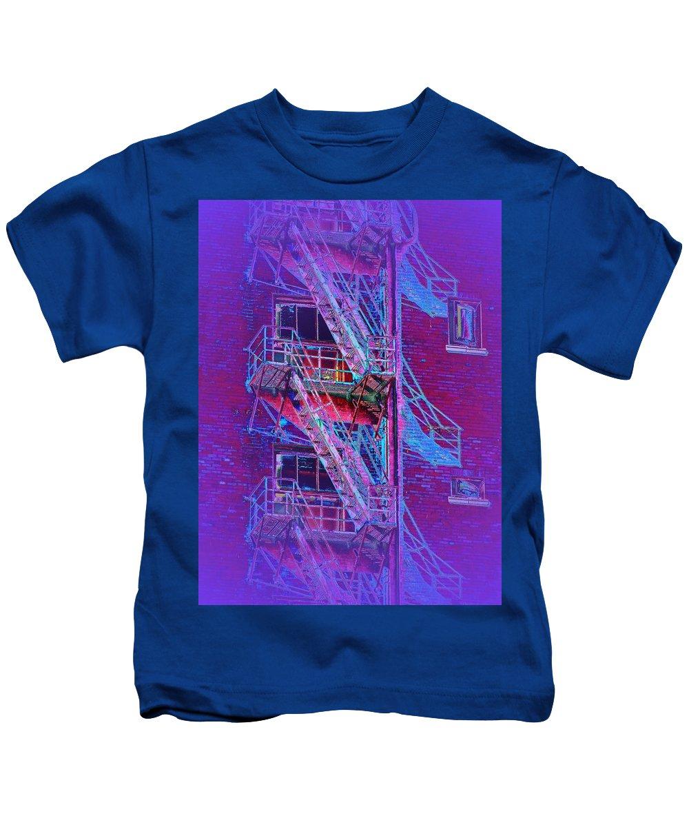 Fire Escape Kids T-Shirt featuring the photograph Fire Escape 4 by Tim Allen