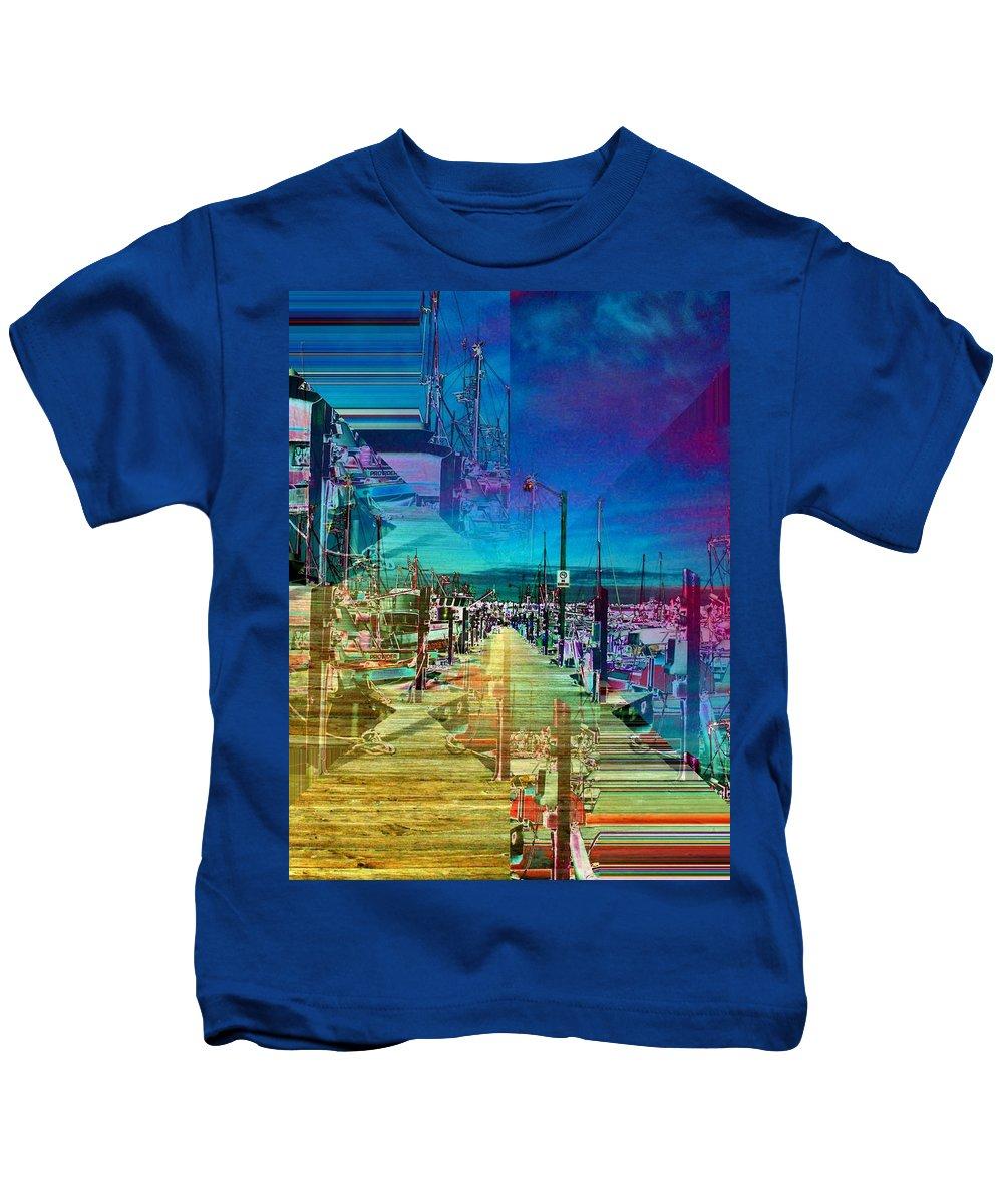 Seattle Kids T-Shirt featuring the digital art Fishermans Terminal Pier 2 by Tim Allen