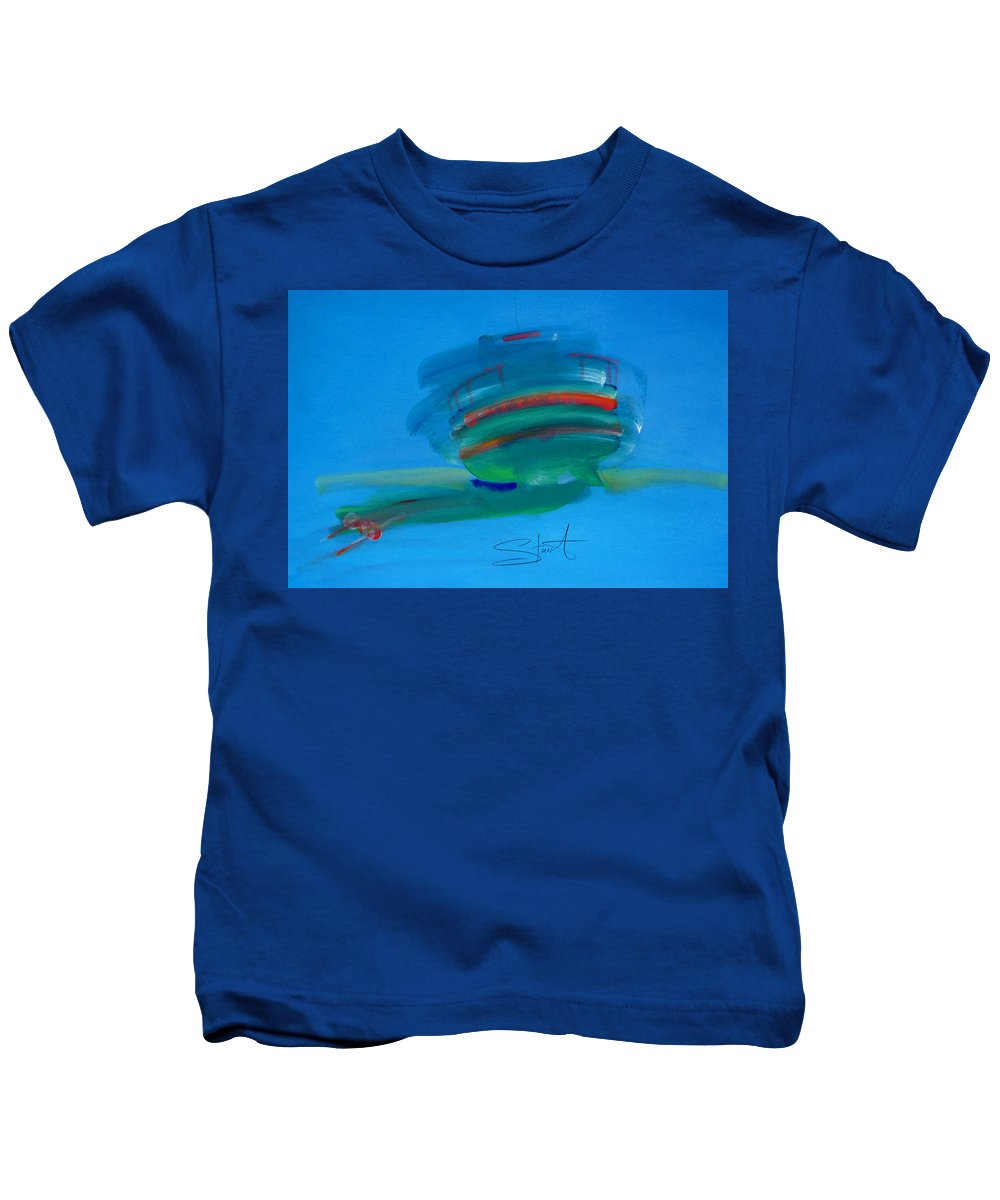 Fishing Boat Kids T-Shirt featuring the painting Fishing Boat Hastings by Charles Stuart