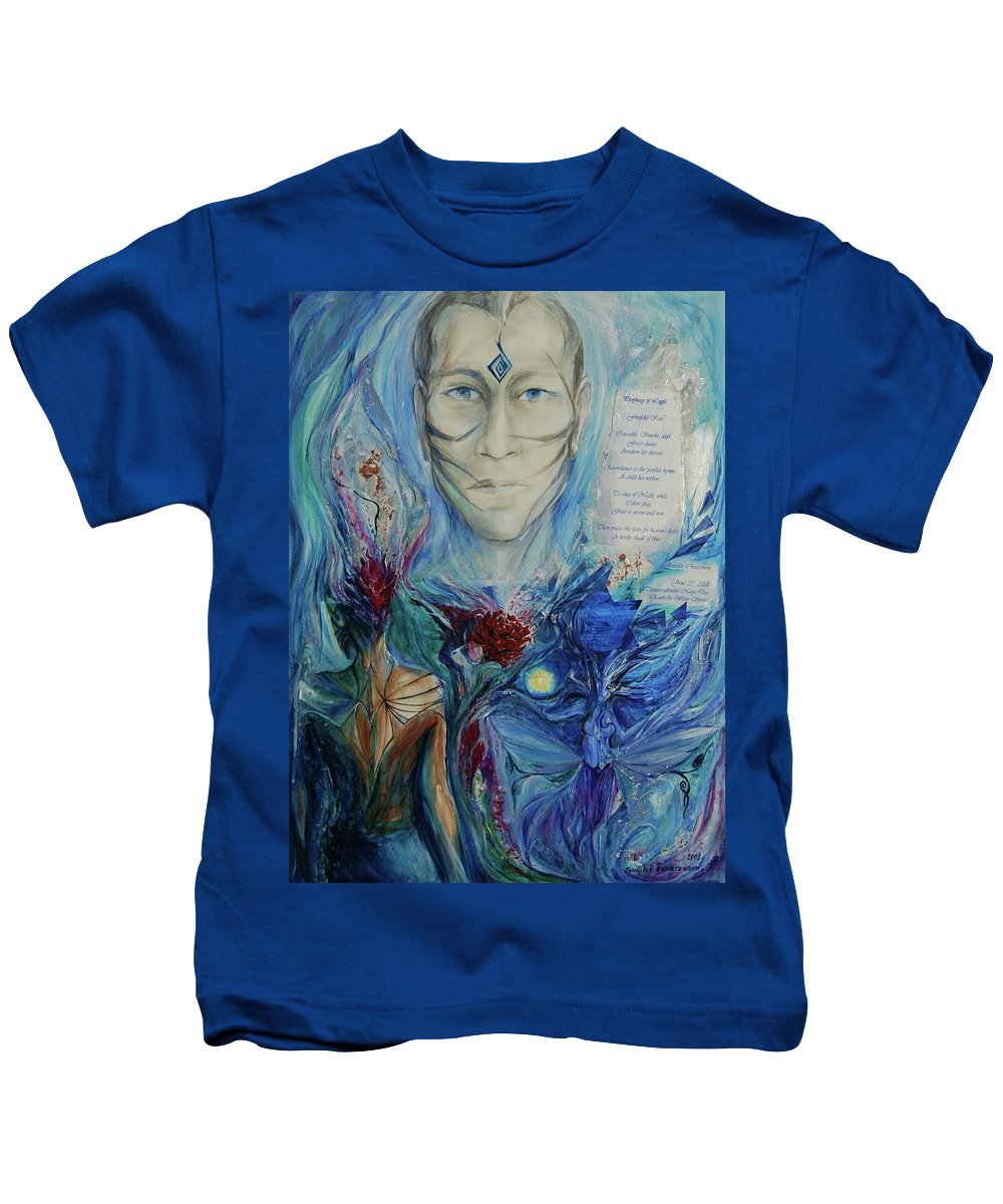 Collage Kids T-Shirt featuring the painting Five Fold Kiss by Jennifer Christenson