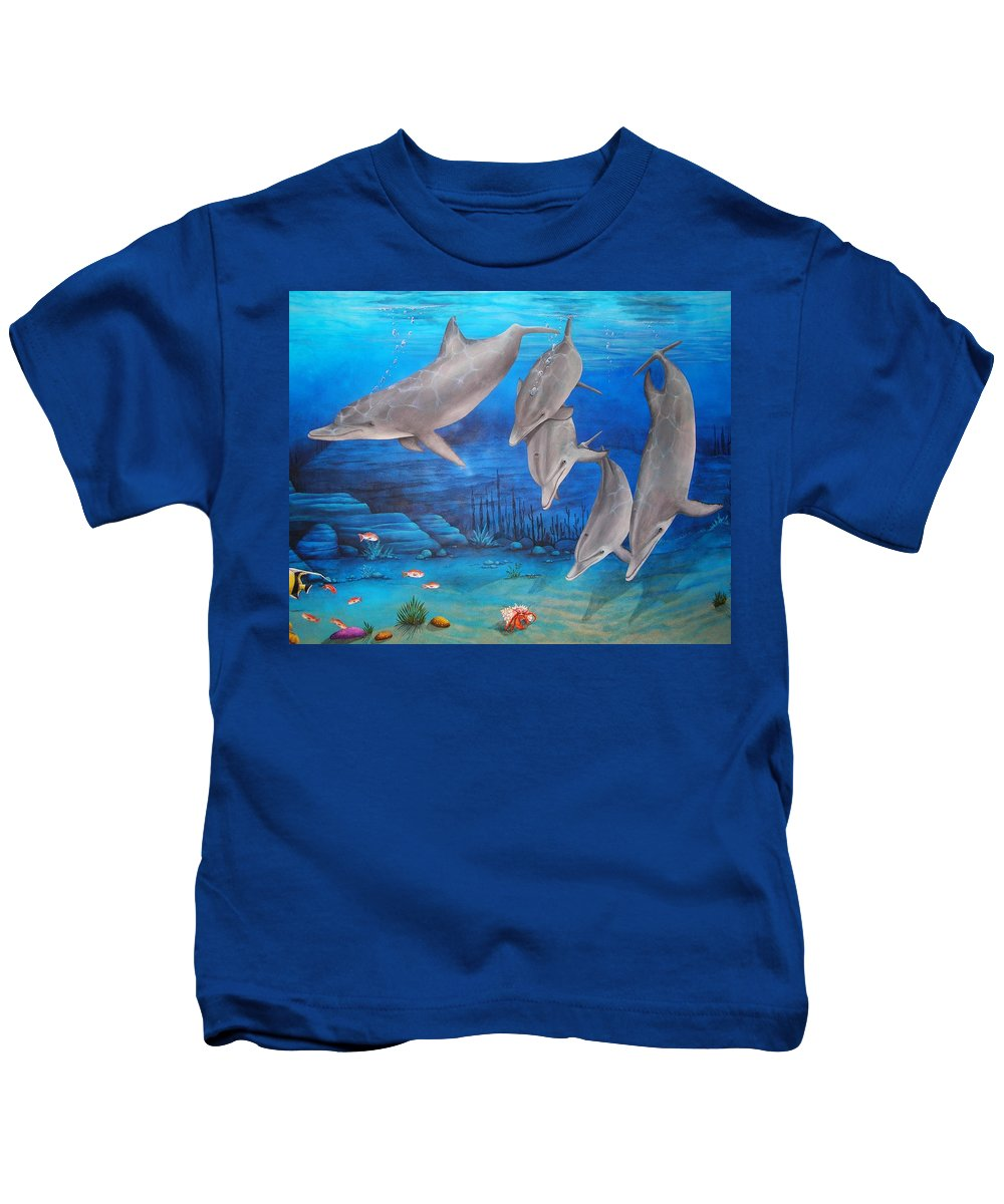 Dolphin Kids T-Shirt featuring the painting Five Friends by Cindy D Chinn
