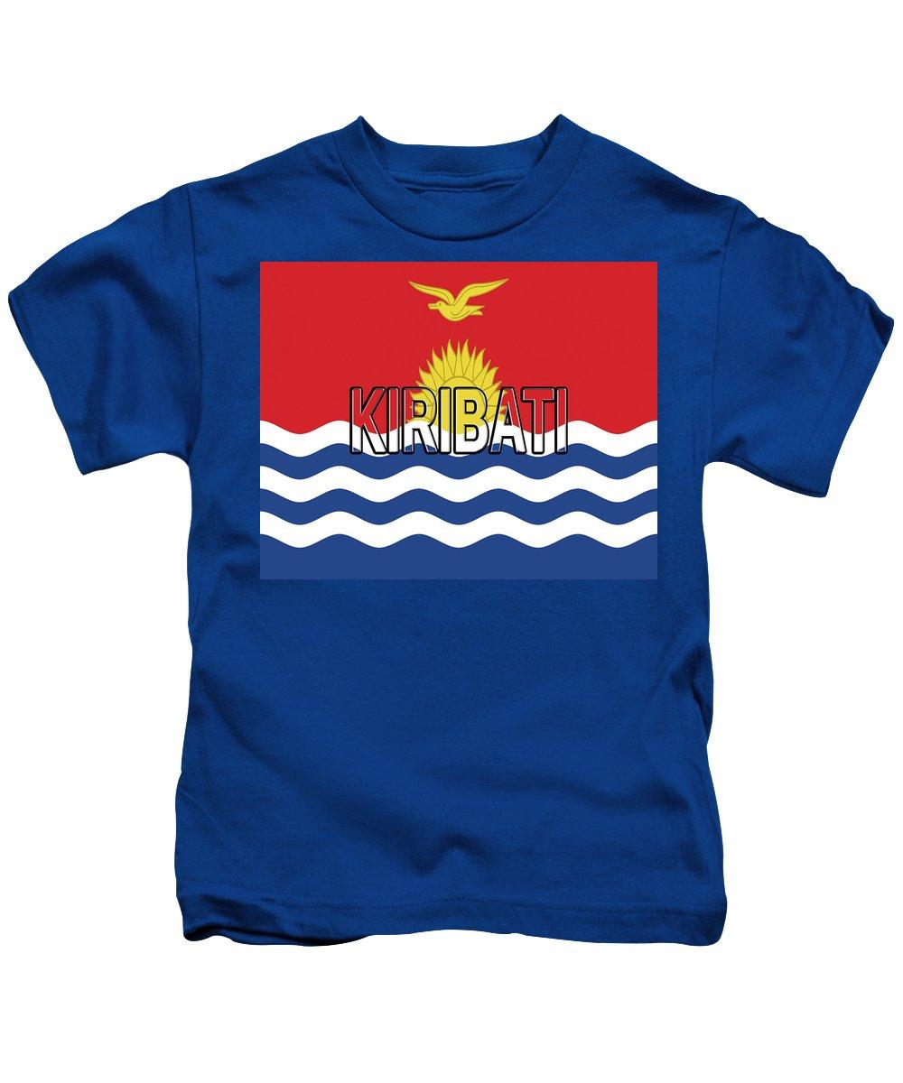 Kiribati Kids T-Shirt featuring the digital art Flag Of Kiribati Word by Roy Pedersen