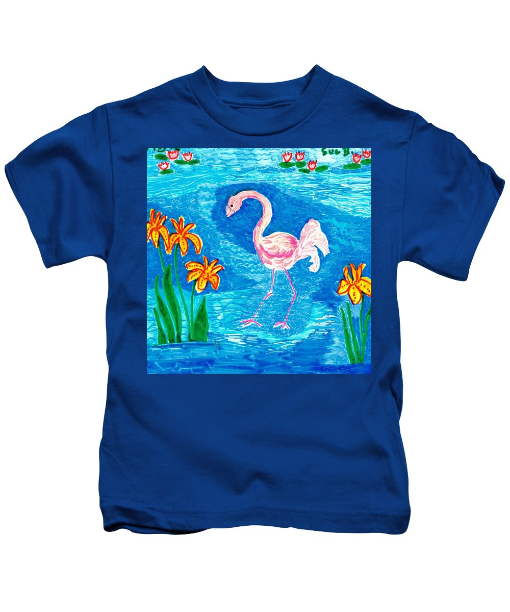 Sue Burgess Kids T-Shirt featuring the painting Flamingo by Sushila Burgess