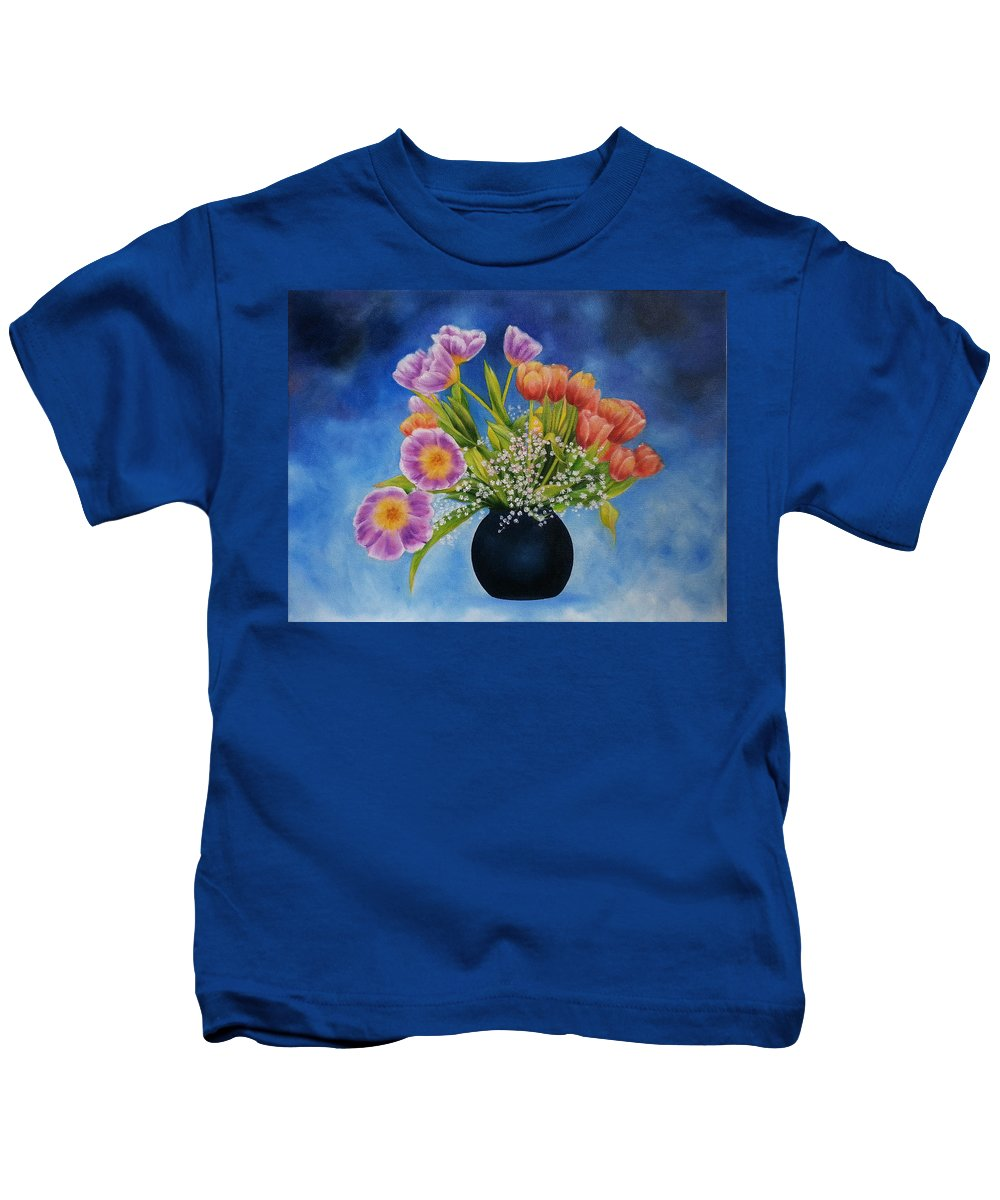 Flowers Kids T-Shirt featuring the painting Flower Still Life by Kathleen Wong