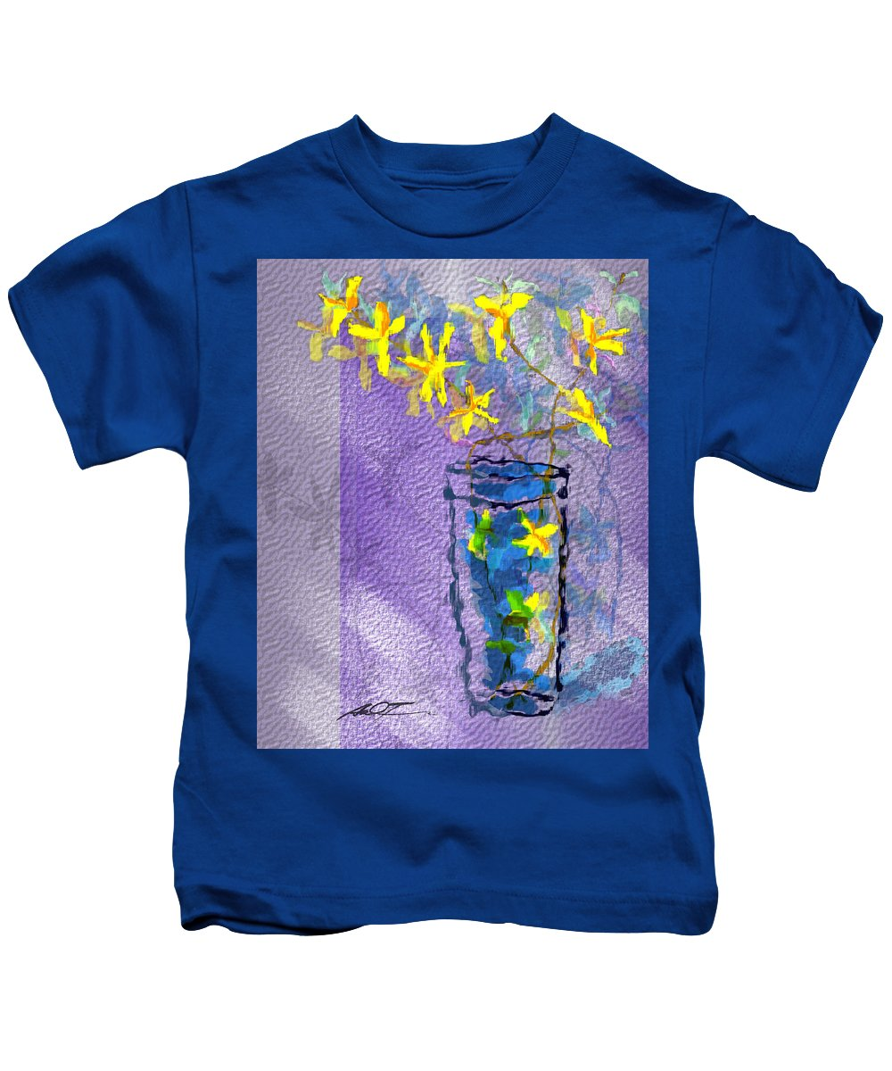 Yellow Kids T-Shirt featuring the painting Flowers In Vase by Dale Turner