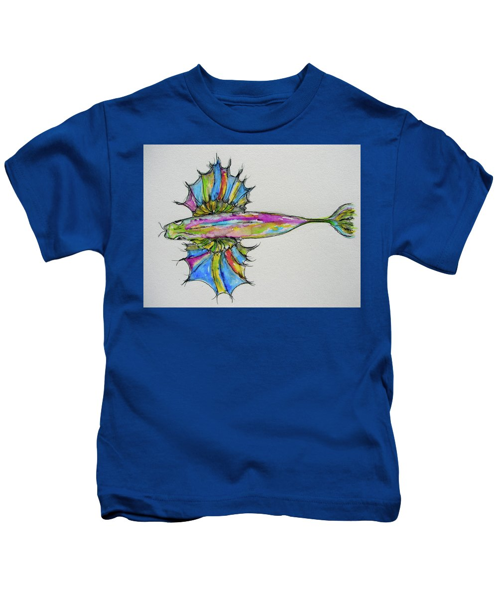 Fish Kids T-Shirt featuring the painting Flying Fish by Linda Hughes-fonte