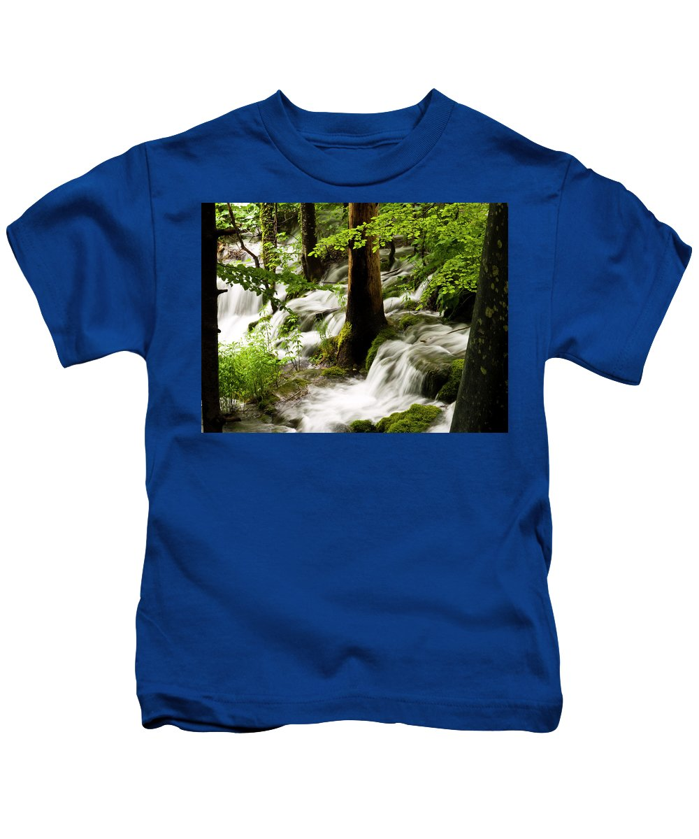 Plitvice Kids T-Shirt featuring the photograph Forest Flows by Rae Tucker