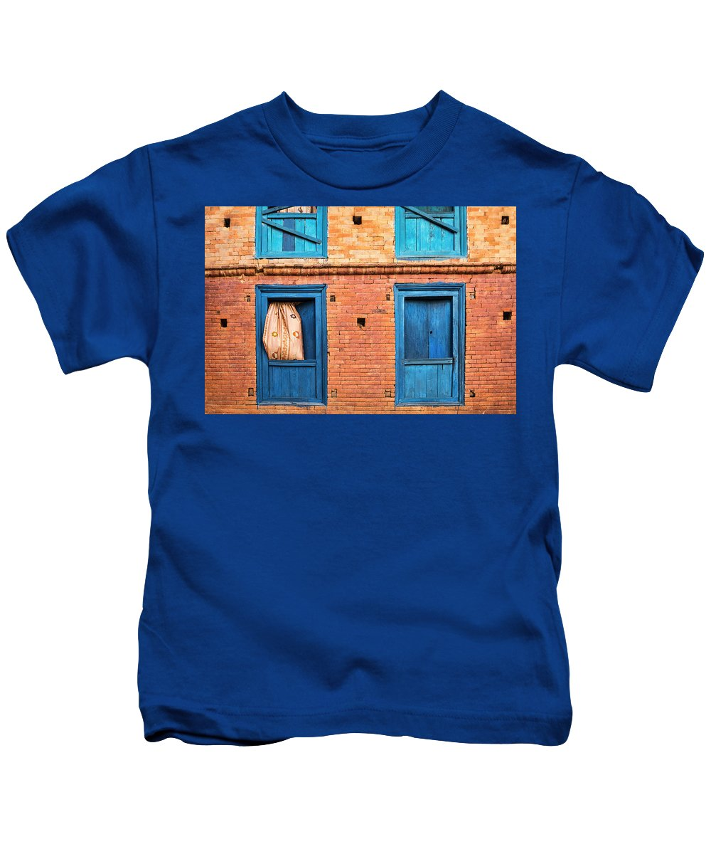Four Blue Windows Kids T-Shirt featuring the photograph Four Blue Windows by Lindley Johnson