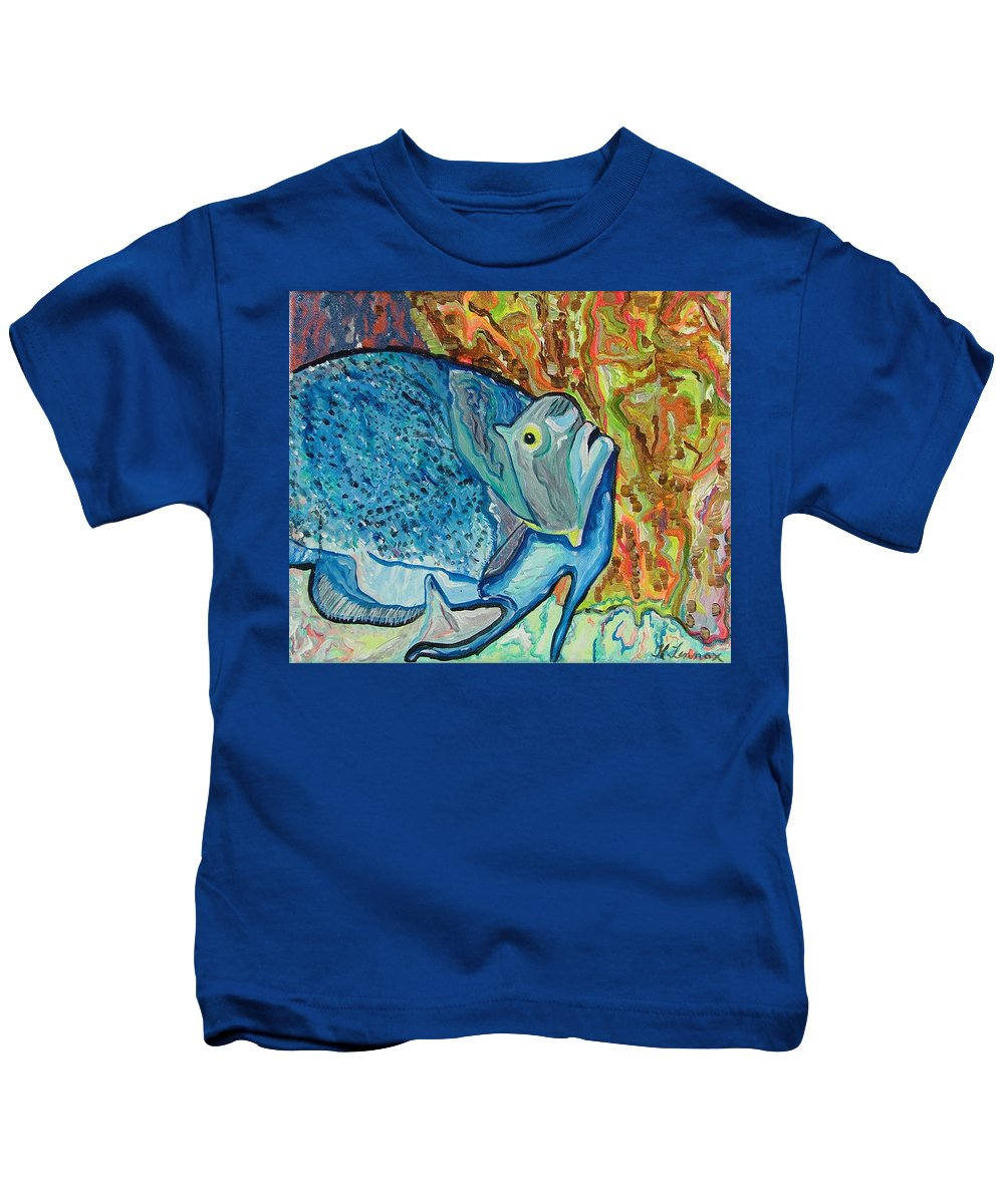 French Kids T-Shirt featuring the painting French Angle Fish by Heather Lennox
