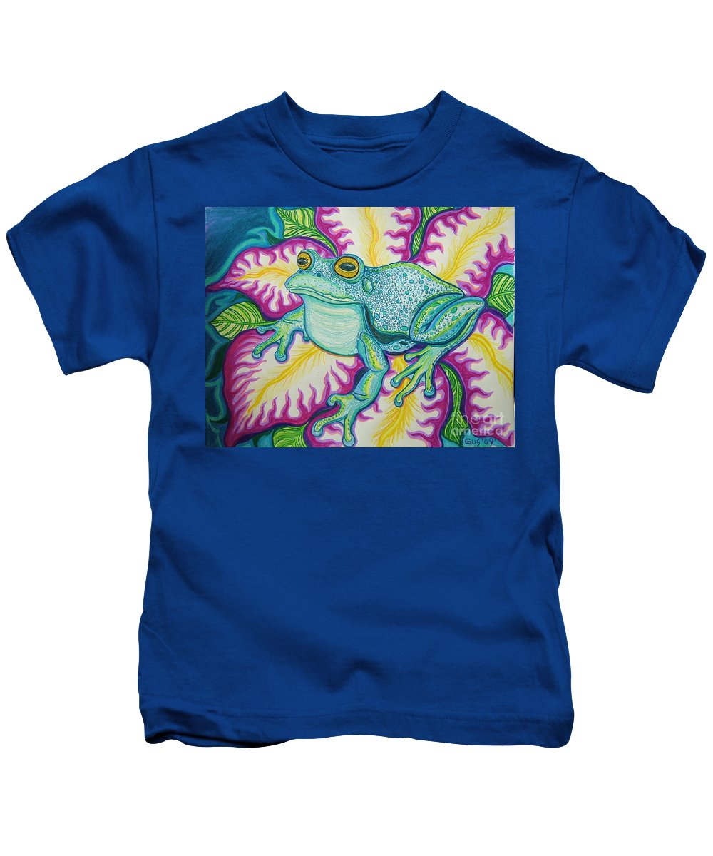 Frog And Flower Art Kids T-Shirt featuring the drawing Frog And Flower by Nick Gustafson