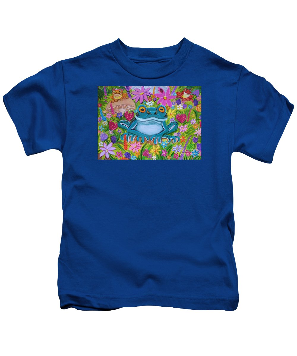 Frog Kids T-Shirt featuring the painting Frogs And Flowers by Nick Gustafson