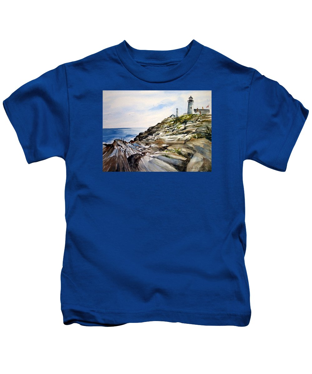 Pemaquid Light House;rocks;ocean;maine;pemaquid;light;lighthouse; Kids T-Shirt featuring the painting From The Rocks Below by Lois Mountz