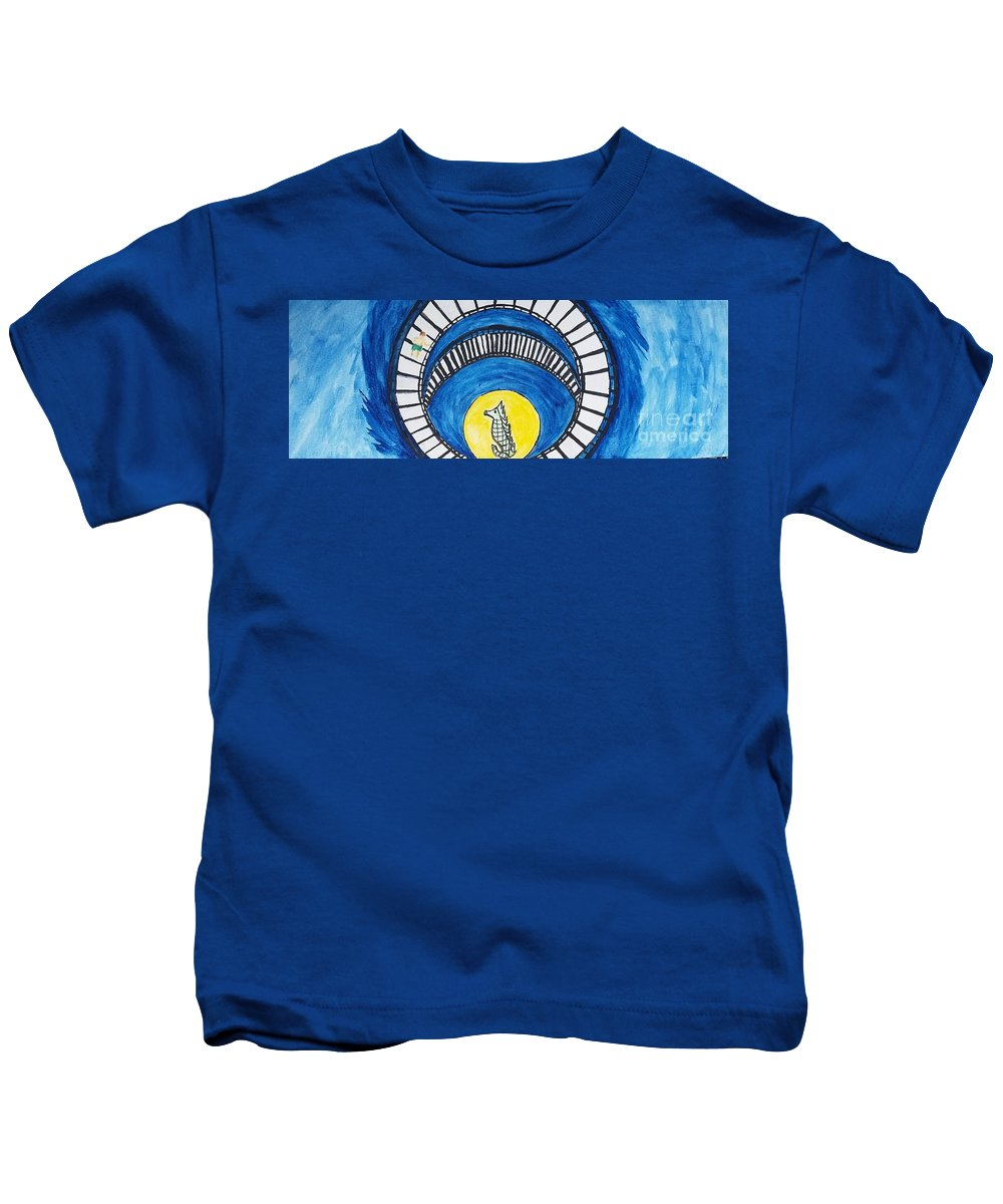 Child Kids T-Shirt featuring the painting Gazillion Of Stairs by J Cv