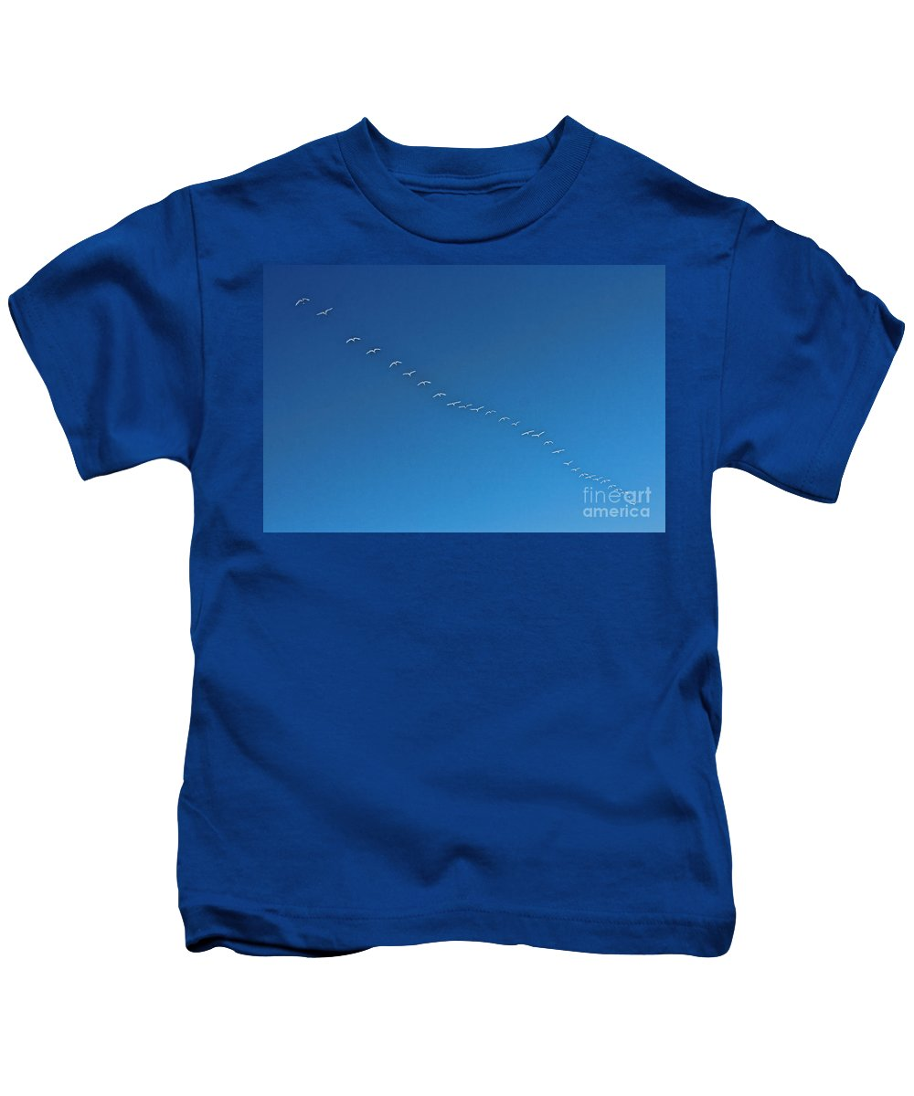 Geese Kids T-Shirt featuring the photograph Geese On The Run by Casper Cammeraat