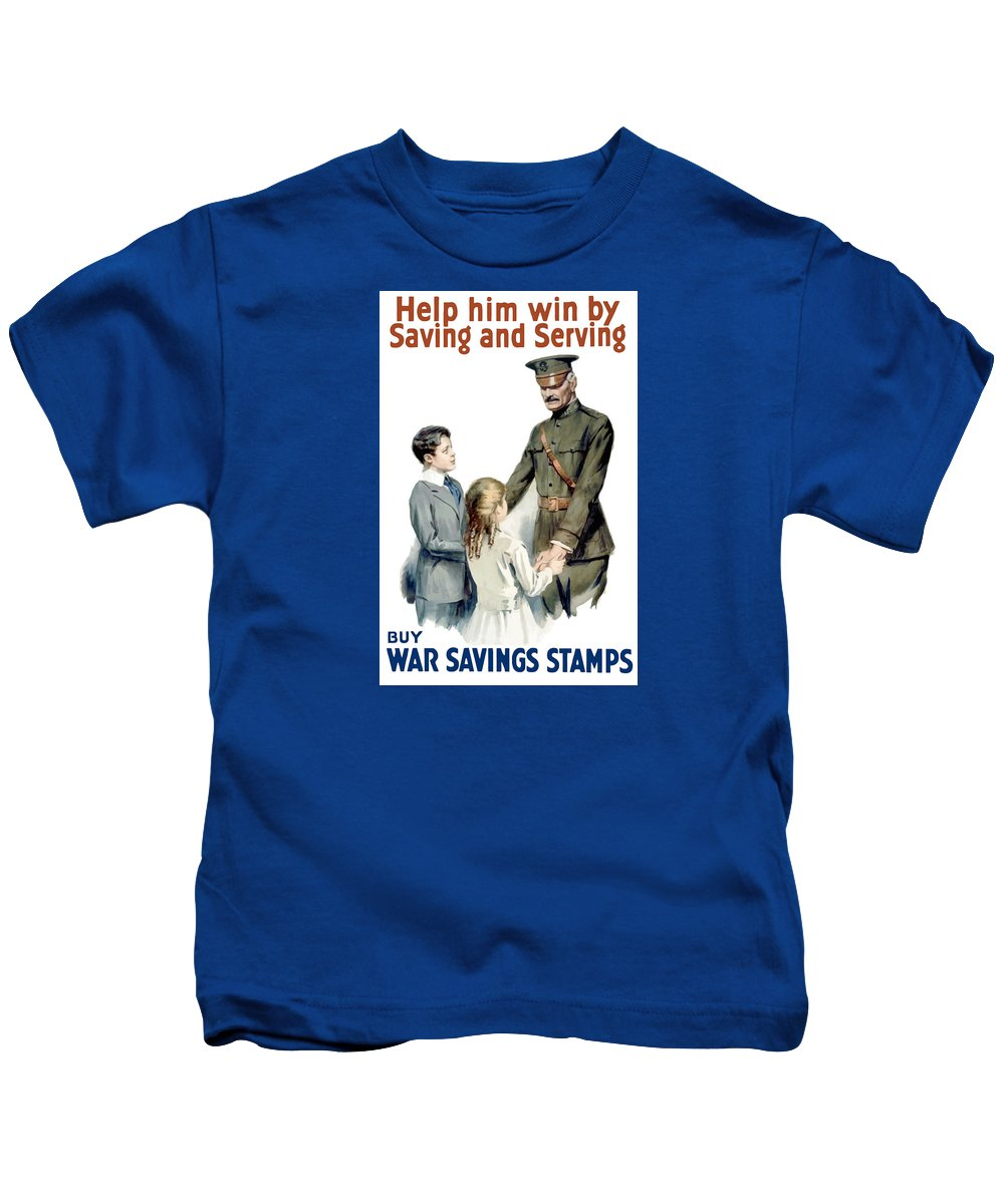 General Pershing Kids T-Shirt featuring the painting General Pershing - Buy War Saving Stamps by War Is Hell Store