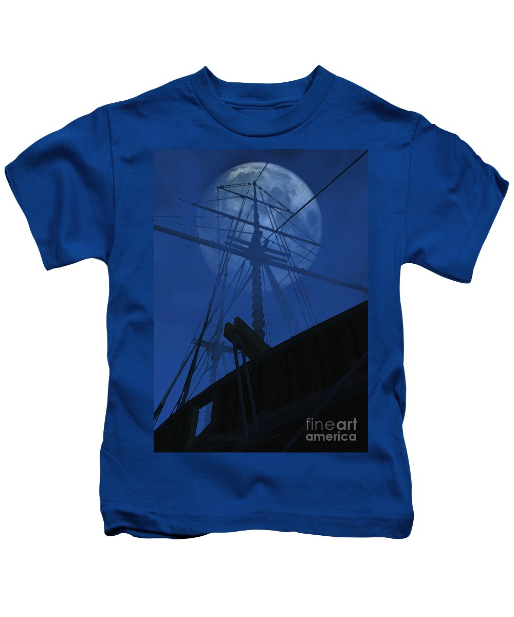 Ghost Ship Kids T-Shirt featuring the digital art Ghost Ship by Richard Rizzo