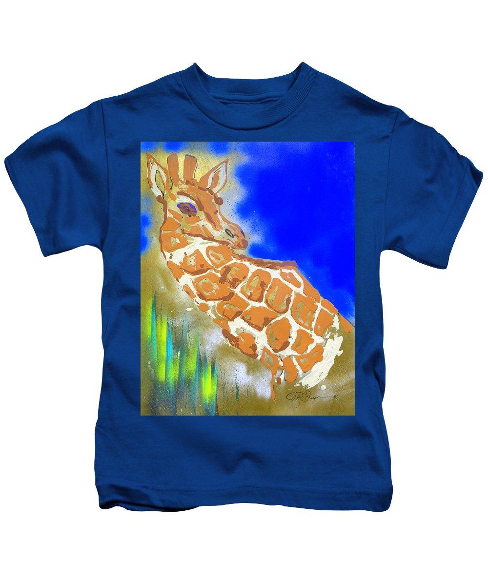 Giraffe Kids T-Shirt featuring the painting Giraffe by J R Seymour