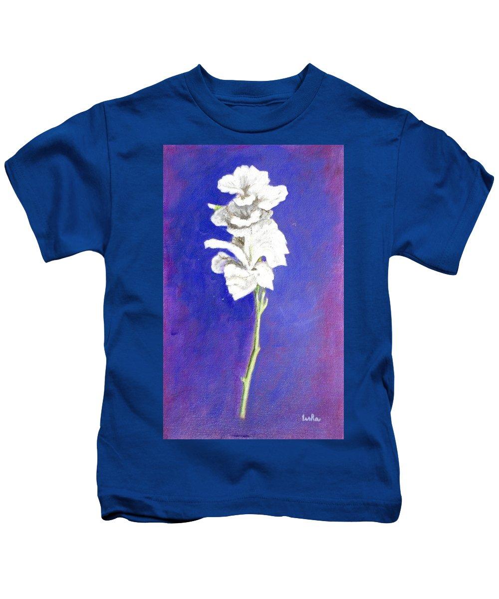 Flower Kids T-Shirt featuring the painting Gladiolus 1 by Usha Shantharam