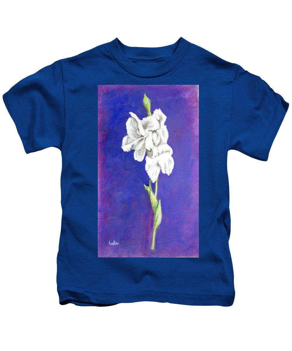 Kids T-Shirt featuring the painting Gladiolus 2 by Usha Shantharam
