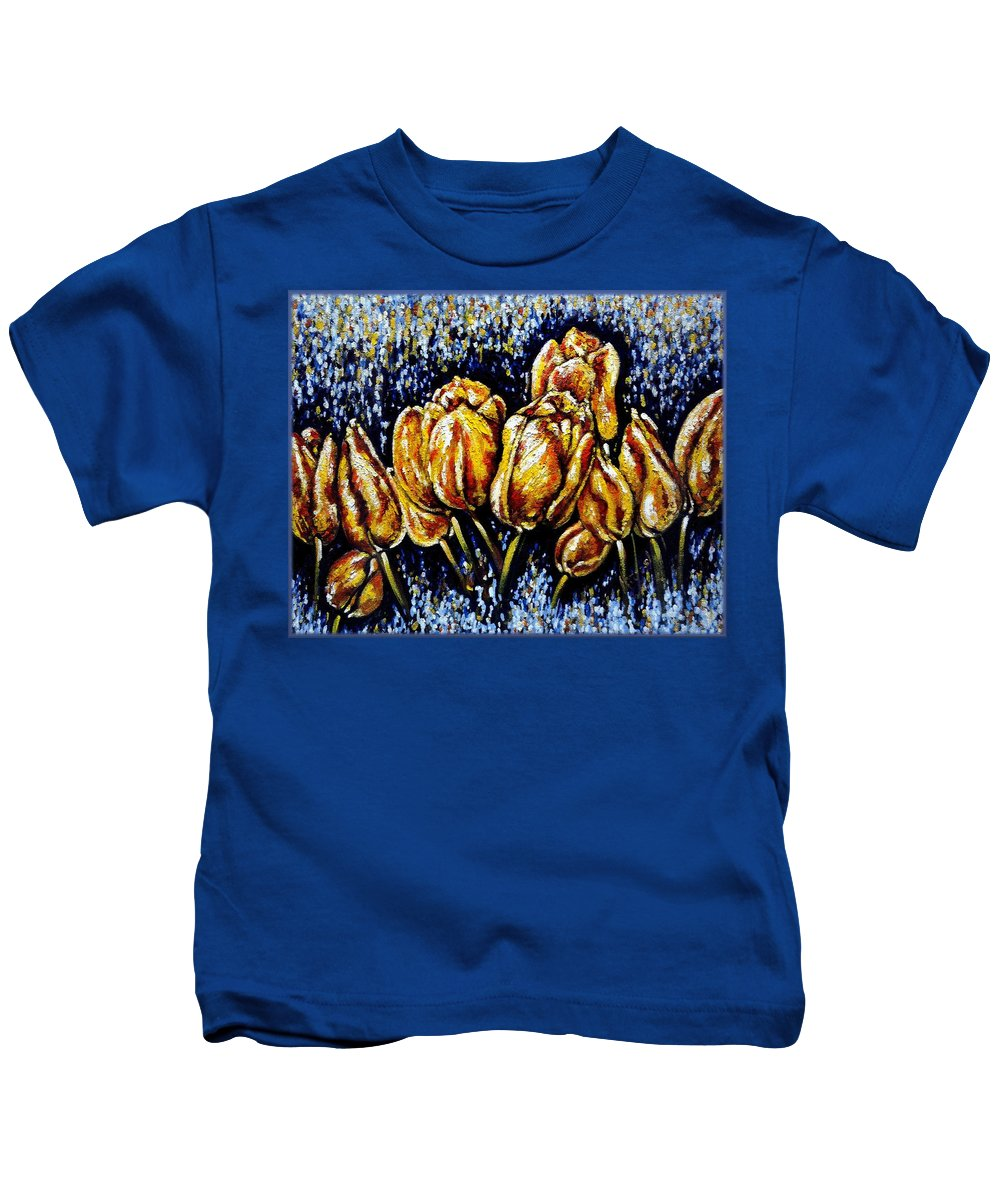 Tulips Kids T-Shirt featuring the painting Golden Tulips by Harsh Malik