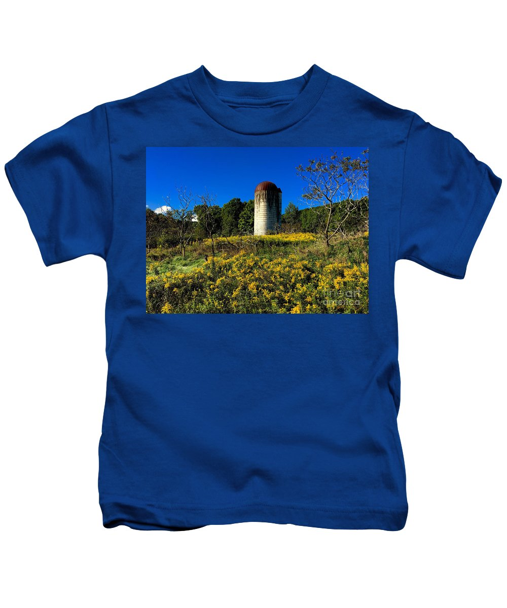 Silo Kids T-Shirt featuring the photograph Goldenrod Surrounded Silo by John Donnery