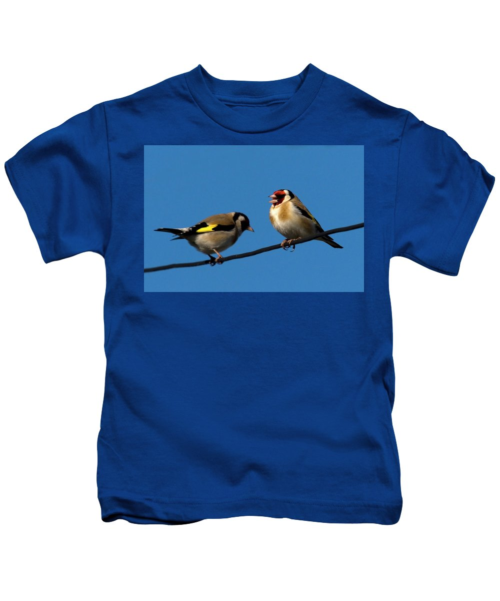 Goldfinch Spring Blossom Kids T-Shirt featuring the photograph Goldfinch Spring by Cliff Norton