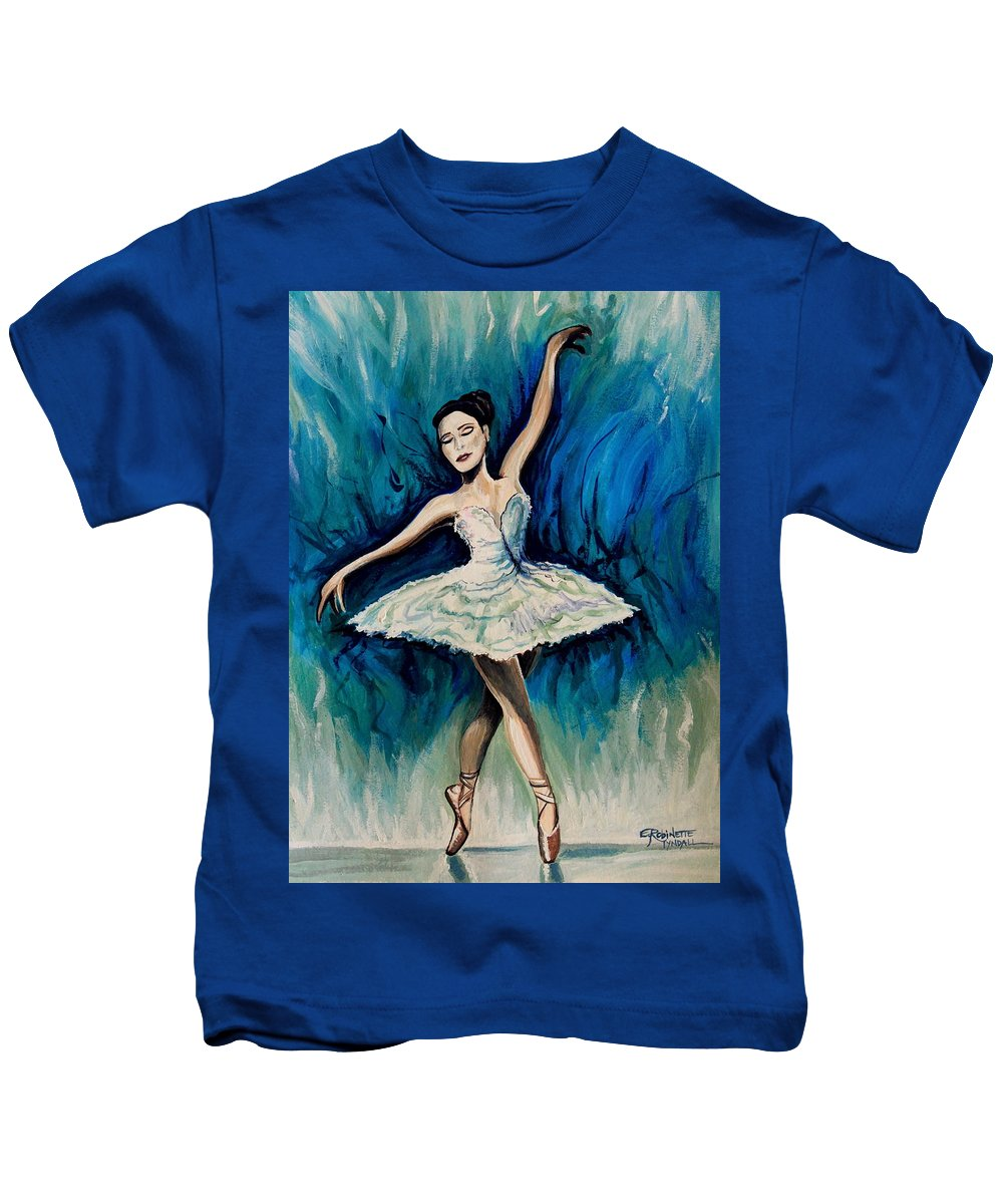 Ballerina Kids T-Shirt featuring the painting Graceful Dance by Elizabeth Robinette Tyndall